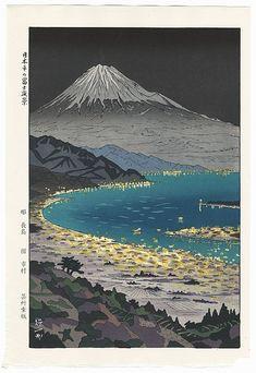 Mt. Fuji from Nihondaira, circa 1950s by Okada Koichi (1907 - ?); Japanese woodblock print........ ukiyoe japan decoration antique fineart home decor collectible japanese woodblock print handmade home art beautiful decorative etching illustration traditional woodcut