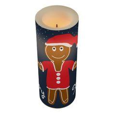 Gingerbread Santa Christmas Flameless Candle