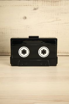 Pollie - Black and white cassette-shaped clutch bag