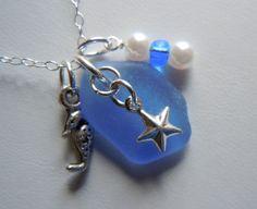 Sea Glass Necklace  Modern Jewelry  Blue by BeachGlassMemories