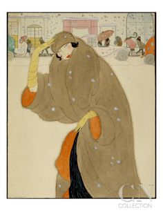 Published May 1, 1920  Woman walking under the snow, wearing a brown fur coat, matching hat and beige gloves. Background of cars and wayfarers..