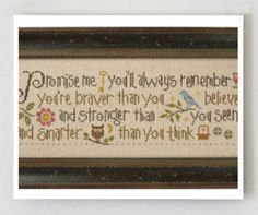 Lizzie Kate : Promise Me counted cross stitch pattern Winnie The Pooh saying new baby embroidery on Etsy, $10.40 CAD