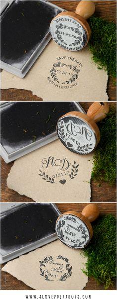 Custom wooden wedding stamps 4lovepolkadots #sponsored
