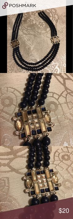 "Lia Sophia navy blue beaded/silver accent necklace Lia Sophia navy blue beaded 3-strand necklace with silver accents containing clear and blue gemstones.  All stones intact.  Measures 19"" and extends to 24"".  Clasp works well.  Good used condition. Lia Sophia Jewelry Necklaces"