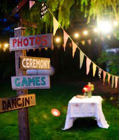 Colorful outdoor wedding reception.