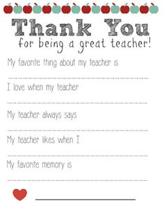 Thank You Teacher FREE Printable, Teacher Questionnaire, Thank You Teacher, Teacher Appreciation, Free Printable