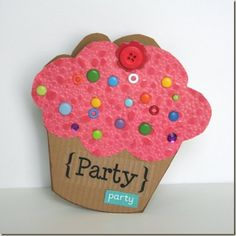 CUPCAKE PARTY INVITE IDEA:Card Tutorial: Shaped Cupcake Party Invitation or Birthday Card with Template