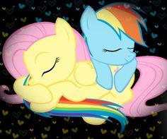 Fluttershy & Rainbow Dash snuggles!