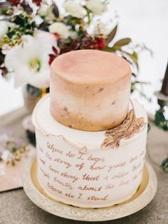 cake in beige tones with calligraphy