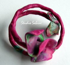 funky  beautiful  polymerclay bangle on memory by StudioSabine, $30.00