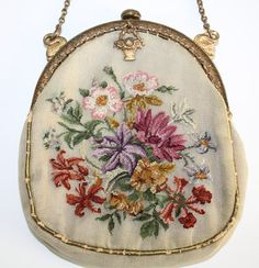 Antique French Petit Point Bag with Gilt Frame