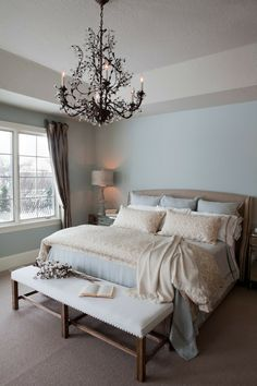 Pale Blue Master Bedroom traditional bedroom