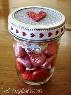 Valentine's Day Kisses in a Jar…The Frugal Girls in Crafts, Thrifty Gifts, Valentine's Day