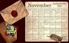 A NaNoWriMo calendar with Potter quotes??  I'm in love.