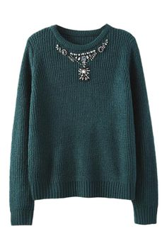 ROMWE | Dimante Embellished Green Jumper, The Latest Street Fashion
