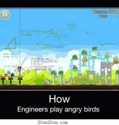 Have you imagine when a Professor tries to play Angry Birds? This is how it would be like that >_> Some equation inside: - Trigonometry equation f. Thats How a Professor Plays Angry Birds Math Humor, Nerd Humor, Science Humor, Nerd Jokes, Geek Humour, Math Memes, Fun Jokes, Science Fun, Science Ideas