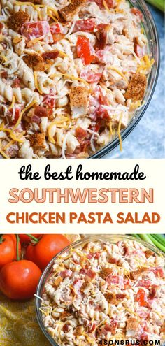 Southwestern chicken pasta salad combines spicy Mexican flavors with an easy to make pasta salad. Perfect for entertaining at a barbecue or potluck or as an easy lunch, this pasta salad will leave you and your guests hungry for more. #pastasalad #salad #recipe