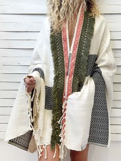 7f181d2b78 0405.0100 HERRINGBONE CAPE peshtemal - ecru This design comes in two base  colors and is decorated with our custom designed woven ribbon and a fringed  band.