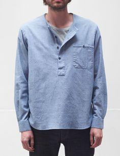 Cotton Blue Men's Collarless Shirt – The Jean Machine