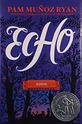 Echo, by Pam Muñoz Ryan - Lost and alone in a forbidden forest, Otto meets three mysterious sisters and suddenly finds himself entwined in a puzzling quest involving a prophecy, a promise, and a harmonica. Decades later, Friedrich in Germany, Mike in Pennsylvania, and Ivy in California each, in turn, become interwoven when the very same harmonica lands in their lives. All the children face daunting challenges, and ultimately, their suspenseful solo stories converge in an orchestral…