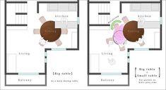 A necessidade de aproveitar cada centímetro de um apartamento de Tóquio, rendeu um projeto muito bem bolado de uma mesa. Idéia deYuki Miyamoto, uma mesa 2 em 1.Uma mesa de jantar que se transforma em