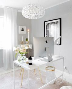 White Home Office Ideas To Make Your Life Easier; home office idea;Home Office Organization Tips; chic home office. office ideas on a budget Home Office Space, Home Office Design, House Design, Office Designs, Office Spaces, Work Spaces, Apartment Office, Workspace Design, Bedroom Apartment