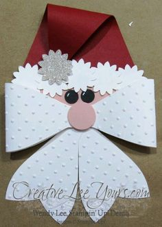 Tutorial for SU gift bow die santa Christmas Paper Crafts, Handmade Christmas Decorations, Christmas Gift Wrapping, Christmas Projects, Holiday Crafts, Christmas Holidays, Christmas Ornaments, Winter Holiday, Stampin Up Weihnachten