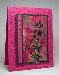 Alcohol Ink focal panel with black silhouette field flowers stamped on top . magenta and slate . Card Making Techniques, Mix Media, Copics, Watercolor Cards, Paper Cards, Creative Cards, Cool Cards, Flower Cards, Greeting Cards Handmade