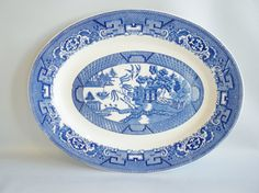 Homer Laughlin Blue and White Oval Platter Vintage by oldandnew8, $25.00