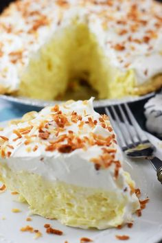 This Easy Coconut Cream Pie is dreamy and creamy, filled with a Coconut Pudding filling topped off with cool whip and toasted coconut!
