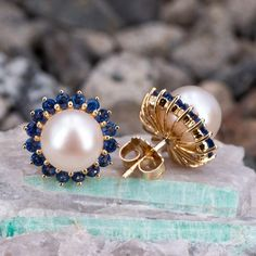 Beautiful Saltwater Pearl & Bright Blue Sapphire Halo Stud Earrings - We have earrings, too! Would you like to see our earrings more often? Stone Jewelry, Pearl Jewelry, Crystal Jewelry, Diamond Jewelry, Silver Jewelry, Silver Ring, Unique Jewelry, Handmade Jewelry, Skull Jewelry
