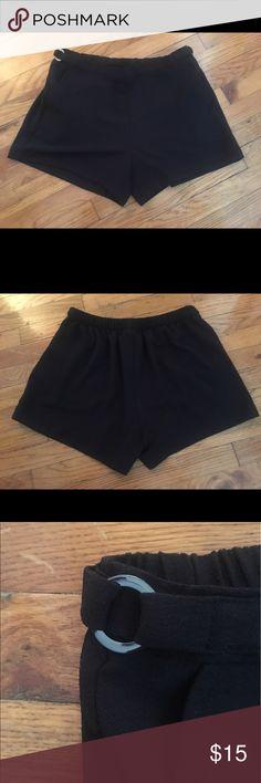 Calvin Klein Black elastic waist shorts Calvin Klein Black elastic waist shorts. Easy pull on design with metal ring detail at hip. EUC. Calvin Klein Shorts