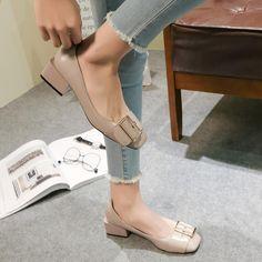 Ρετρό Γυναικεία Αντλία Γυναικεία Άνοιξη Μαύρο Μαλακό Δερμάτινο Παχύ Παπούτσι Γραφείο Παπούτσια Φόρεμα Παπουτσιών Μάρκα Πόρπη Γύρος Toe 45 Heels, Fashion, Heel, Moda, Fashion Styles, High Heel, Fashion Illustrations, Stiletto Heels, High Heels