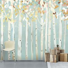 g wall papers Oil Painting Huge Trees Forest Birch Forest Wallpaper Wall Mural, Autumn Trees Forest Wall Mural, Living or Dinning Room Wall Mural Wallpaper Wall, Forest Wallpaper, Custom Wallpaper, Tree Wallpaper Nursery, Birch Tree Mural, Tree Wall Murals, Kids Wall Murals, Mural Floral, Forest Mural