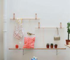 bloesem live, floating shelves, leather jewelry, display, diy leather handles, blog, bloesem shop, birds, bags