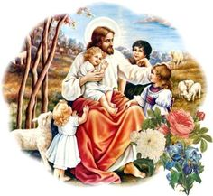 Lord Jesus With Small Childs And Sheep Church Pictures, Jesus Pictures, Jesus Is Risen, Jesus Loves, Jesus Laughing, Christian Stories, What Is Christmas, Merry Christmas, Jesus Cristo
