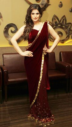 Sizzling Hot Pics of Hate Story 3 actress Zarine Khan - Cinebuzz Sari Blouse, Saree Blouse Patterns, Saree Blouse Designs, Zarine Khan, Sari Design, Maroon Saree, Maroon Gowns, Red Saree, Maroon Dress