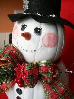Plaid Community - Featured Project - Christmas Pumpkin Snowie-Holiday a great way to use pumpkins after the fall season. Pumpkin Snowmen, Christmas Pumpkins, Frosty The Snowmen, Pumpkin Crafts, Snowman Crafts, Christmas Snowman, Christmas Projects, Winter Christmas, Holiday Crafts