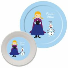 Personalized Snow Princess and Snowman Plate and Bowl Set