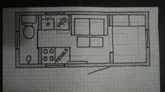 Luxurious shepherd hut floor plans. Shelves go around the circumference of the kitchen, living room, and the bedroom. An end table/work surface pulls out from above the washer/dryer. An end table/bedside table pulls out from under the bed. The bathroom is a European wet bath. There is an apron front sink in the kitchen. 7 1/2 x 18 feet. 110.5 sq. ft. And there is still room for the big overstuffed love seat.