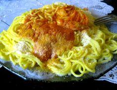 Receta: Tallarines caseros de harina, sémola y salsa