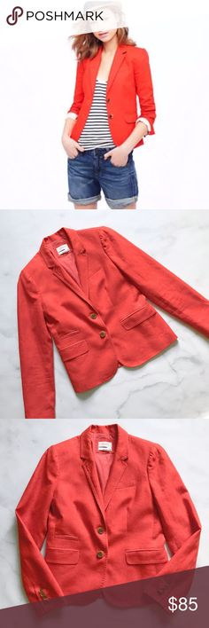 J. Crew Classic Schoolboy Blazer in Linen Beautiful bright orange blazer from J. Crew. Color is more true to the stock photo. Definitely Orange, not red. Classic Schoolboy fit. Size 4. Perfect condition, just returned from the dry cleaners. ------------  Tailored for a fitted look. Linen. Hits at hip. Notch lapel. Chest welt pocket, welt pockets with flaps. Lined. J. Crew Jackets & Coats Blazers