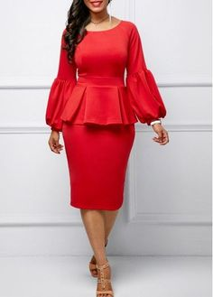 Back Slit Peplum Waist Lantern Sleeve Dress | Rosewe.com - USD $34.43