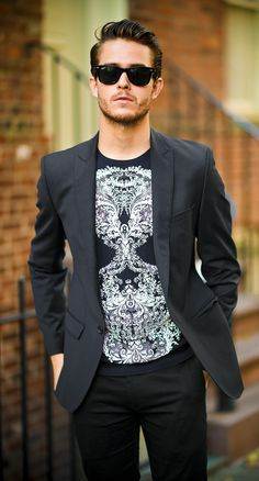Mens style #streetstyle I like the blazer but the tee, too street for me #MensFashion #MensStyle | More outfits like this on the Stylekick app! Download at http://app.stylekick.com