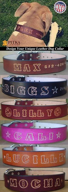 ***Leather Dog Collars for Big Dogs - Comfortable Dog Collars 1.5 inch wide - Personalized Dog Collars - Custom Dog Collars made in USA*** Shop our leather dog collars for big dogs and you will get best name leather collar on a market at lowest price. The