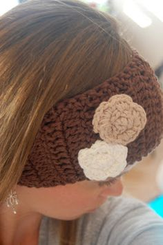 Crocheted Ear Warmer Pattern- I made this pattern in a very short time. Instead of the flowers, I made the large bow in the hat with large bow pattern. This project was made for Delaney (8-30-13).