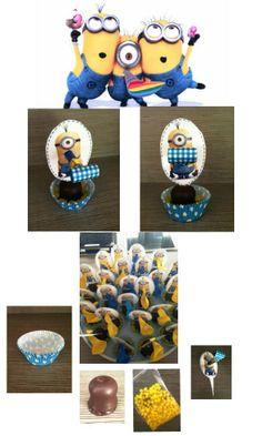 minion traktatie met ballon of roltoeter cupcake bakje - (neger) zoen - gele jelly beans - prikker (printen, lamineren, knippen, gaatje prikken, ballon/toeter erdoor)