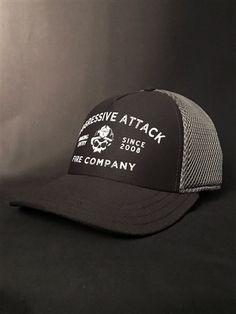 4b765e2a0c6 Black Helmet Aggressive Attack Fire Company Pro Max Fitted Cap in Black.  Firefighter Apparel ...