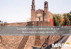 """#Frase del día: """"La arquitectura es la ordenación de la luz; la escultura es el juego de la luz"""" -Antonio Gaudí- """"Plaza de las tres culturas o Tlatelolco"""", su nombre se debe a que el conjunto arquitectónico proviene de 3 etapas históricas: Cultura Tenochtitlan, Cultura Española y Cultura México Moderno. #México"""