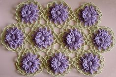 The lace crochet joining technique for flowers made on a flower loom